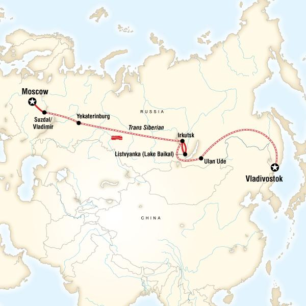 Epic Trans-Siberian Journey map