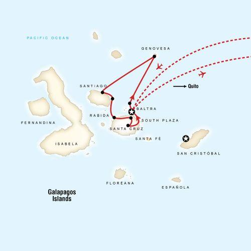 Galapagos - 5 days cruising Central & South islands aboard Alia map