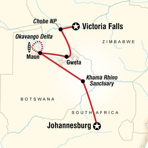 Botswana & Falls Adventure map