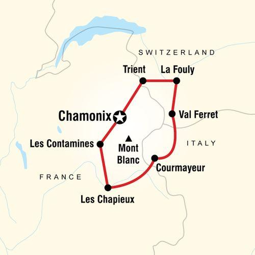 Trekking Mont Blanc map
