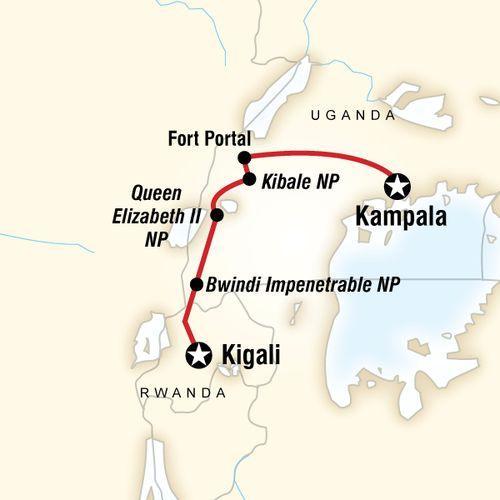 Culture & Wildlife of Uganda & Rwanda map