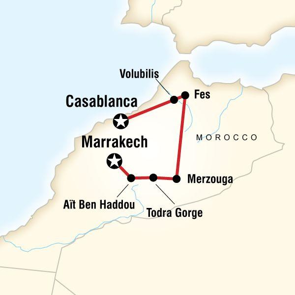Morocco Kasbahs & Desert map