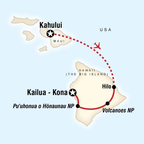 Highlights of Hawaii - Maui & Big Island map
