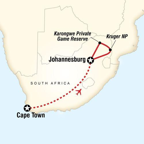 Explore Cape Town & Kruger National Park map