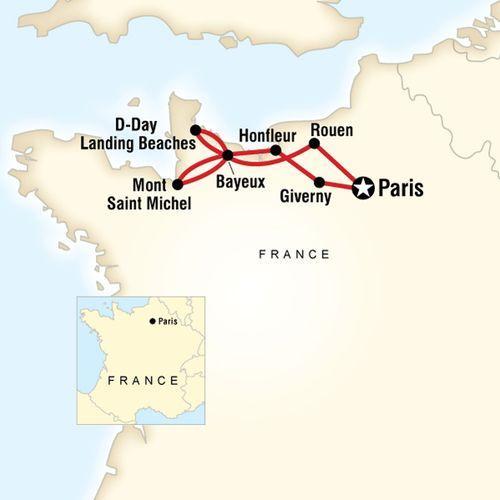 Paris & Normandy Highlights map