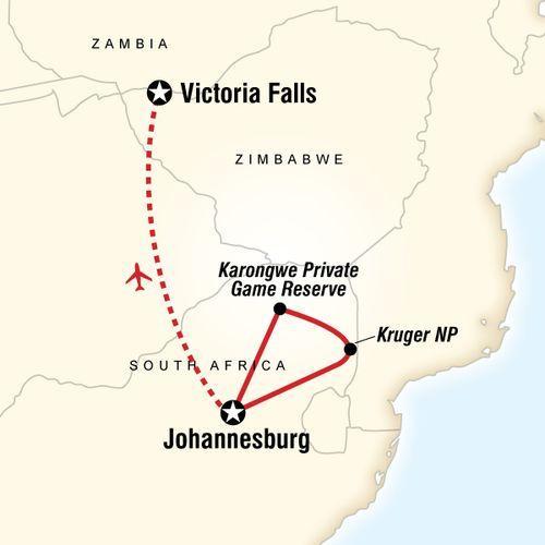 Explore Kruger & Victoria Falls map