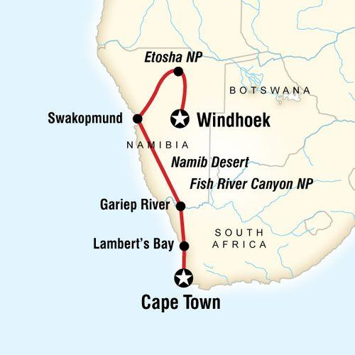 Cape and Namibia Adventure map